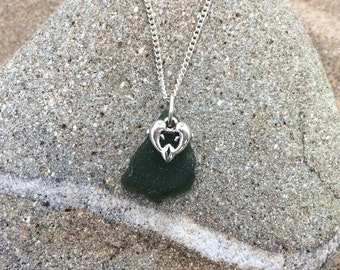 Green Welsh Seaglass and Dolphin Heart Pendant