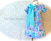 Toddlers Princess Dress, Princess Party Dress, Birthday Party, Peasant Dress, Turquoise and Purple, Sizes 18 mo. - 5 by 8th Day Studio