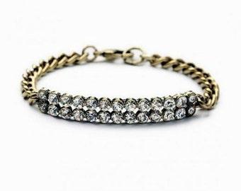 Double Layer Crystal Bronze Bracelet