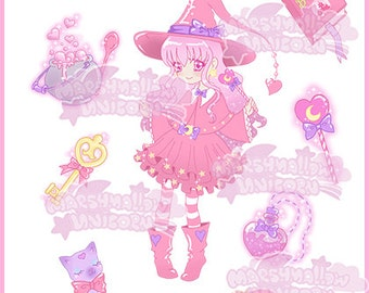 Sticker set Magical girl cute and kawaii pastel colores