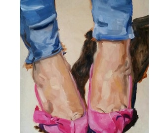 Pink Shoes - 11 x 14 Original Oil Painting on Panel