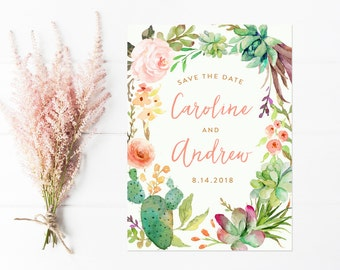 Save The Date, Watercolor Flower Wreath, Cactus Save the Date
