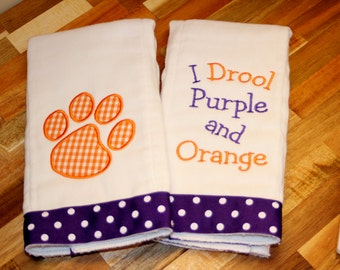 I Drool Purple and Orange Applique Baby Gift - Tiger Paw Burp Cloth - Tiger Paw Baby Gift - Tiger Baby Shower Gift - Clemson Baby Game Day