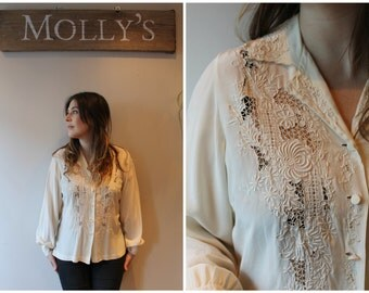 1950s Cream Silk Embroidered Cutaway Blouse