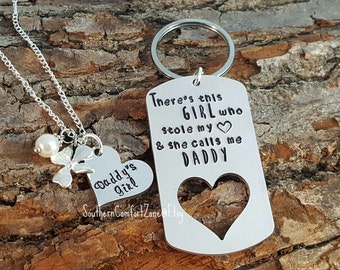 Fathers Day Key Chain - There's this girl who stole my heart she calls me Daddy - Daddys Girl - Gift for Him - Wedding Gift - Personalized