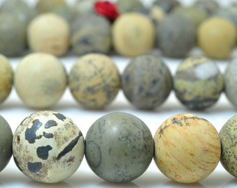 37 pcs of Yellow Grass flower stone matte round beads in 10mm (05043#)