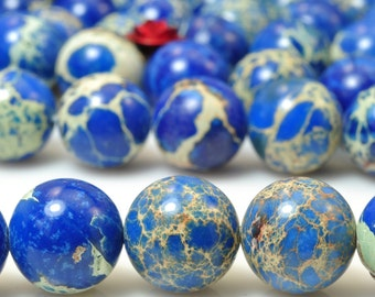 37 pcs of Dark blue Imperial Jasper smooth round beads in 10mm