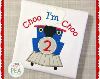 Choo Choo Train Birthday shirt - Thomas The train shirt - boys birthday - applique birthday shirt - Thomas the tank engine birthday -