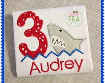 Embroidered Shark Birthday Shirt - Boys Shark Shirt - Girls Shark Shirt - First Birthday - Shark Applique Shirt - Under the Sea Party Shirt