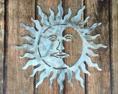 """Metal Sun and Moon, wall art, indoor, outdoor, aluminum, 21"""" diameter, for home and garden, lightweight"""