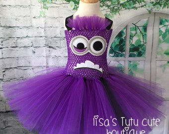 Evil minion tutu, Evil minion tutu dress, evil minion costume, evil minion dress, minion tutu, minion tutu dress, purple minion tutu