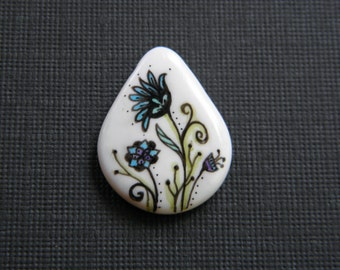 Fantasy Floral Ink Art Pendant Bead, Hand Crafted, Original Drawing