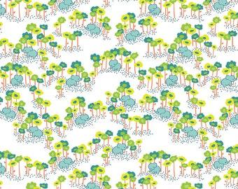 1 yard SUNDALAND JUNGLE  by Katy Tanis for Blend Fabrics Pygmy Elephants Blue