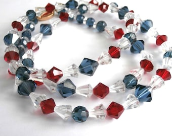 """Signed Swarovski Red, White & Blue Crystal Beads Necklace 30"""" New (D)"""