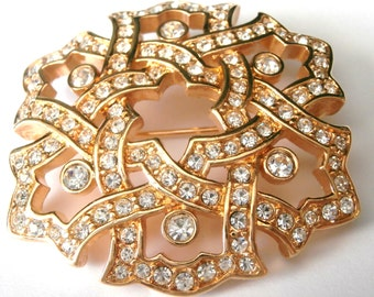 Signed Swarovski Pin Brooch Gold Plated with Clear Bezel Set & Pave Crystals