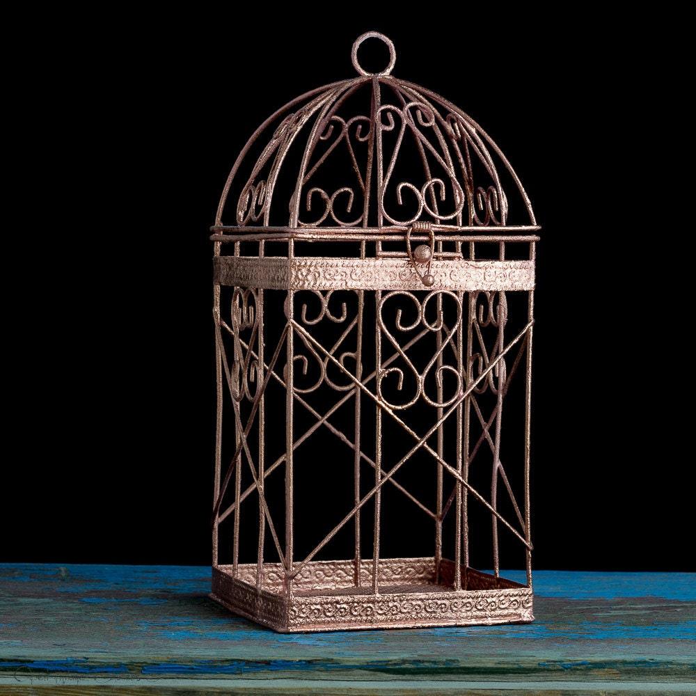 rose gold bird cage rose gold wedding decor pink gold candle. Black Bedroom Furniture Sets. Home Design Ideas
