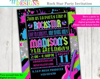 Rock - N - Roll Birthday Party - Rock Star Party - Girl Rocker Party - Invite - Invitation