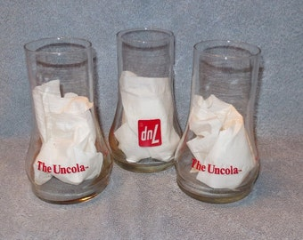 "3 Vintage 7 UP ""THE UNCOLA"" Glasses"