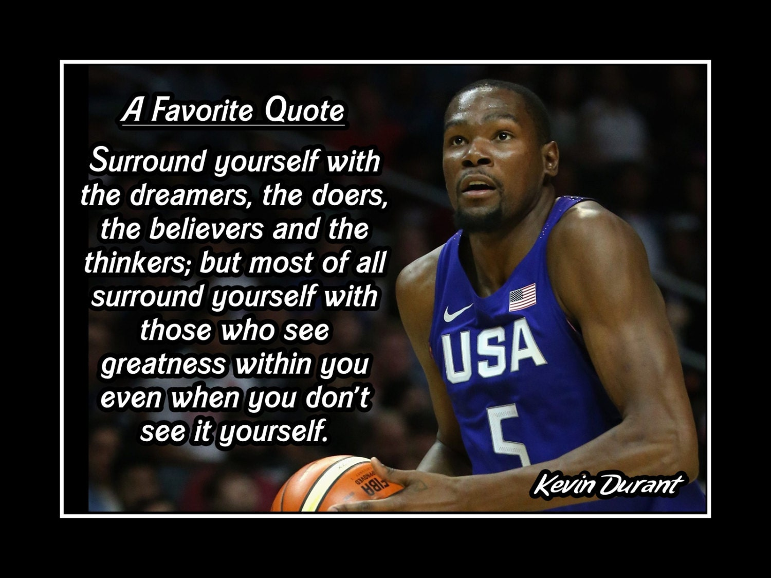 Kevin Durant Quote Kevin Durant Basketball Motivation Poster Coaching Wall Art