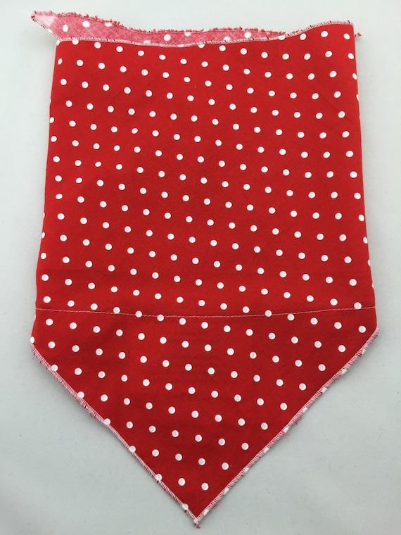 Red cotton bandana w/ white polka dot and Secret Pocket
