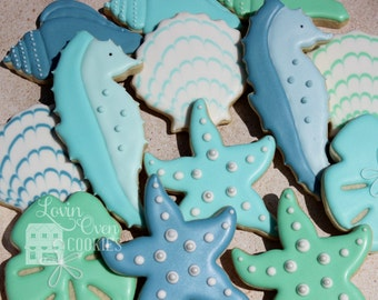 Under the Sea Theme Decorated Sugar Cookies - 1 Dozen Shells / Sea Horse - Party Favor