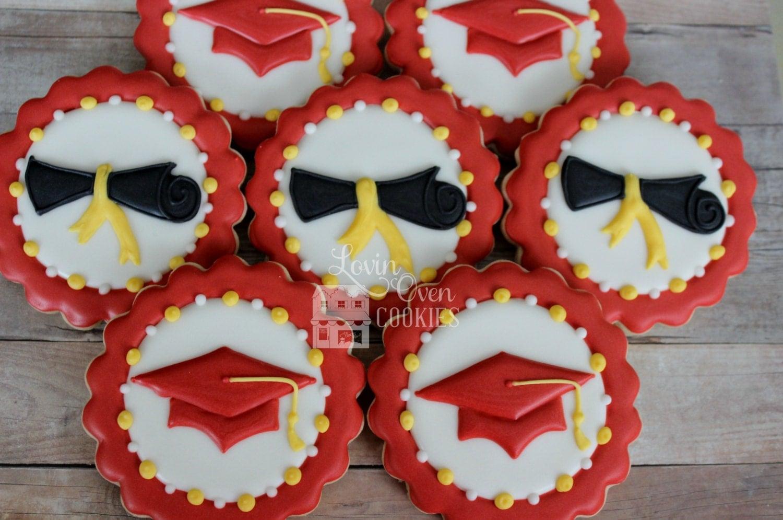 Graduation Cap Amp Diploma Decorated Cookies 1 Dozen Party
