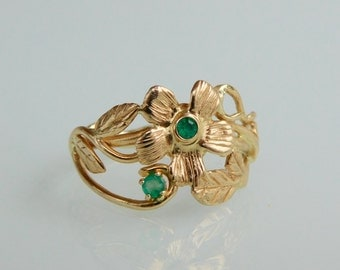 Emeralds forest gypsy ring, 14k solid gold