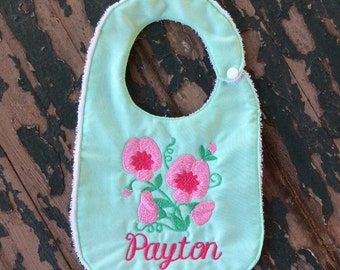 Baby's Handmade Bib - Personalized with Name and Sweet Pea Flowers