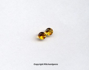 3mm Semi Precious Matched Pair Brazilian Brandy Citrine Faceted Round for Two