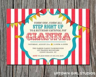 Carnival Invitation || Circus Invitation || Carnival Birthday || Circus Birthday || Birthday Invitation || DIGITAL DOWNLOAD via email