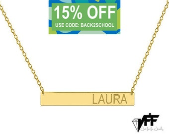 18K minimalist gold bar necklace - gold plated 2 inch necklace celebrity inspired pendant
