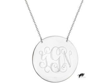 "Personalized Disc necklace - 5/8"" inch personalize silver monogram necklace sterling silver .925 silver"