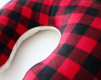 Buffalo check with Rabbit Fur Minky Back Boppy Pillow Cover, Zipper Closure, Baby Girl or boy, Baby Shower, Feeding, Nursing, Red and Black