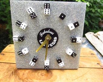 Vintage Fabulous Las Vegas Clock - Sparkle Las Vegas Souvenir Clock - Dice Clock - Gamblers Clock