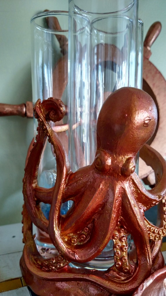 Octopus toothbrush holder metallic finish bronze gold silver for Bronze and silver bathroom accessories