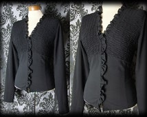 Gothic Black Ruched Bib VICTORIAN GOVERNESS Fitted Frill Blouse 10 12 Vintage