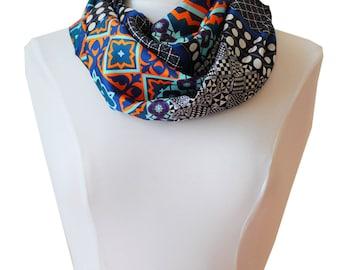 Snood printed  handmade silk in Lyon