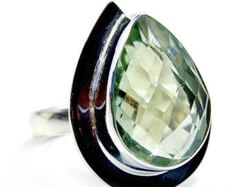 Green Amethyst & .925 Sterling Silver Ring Size 6.75 ,   S978
