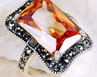 Honey Cubic Zirconia, Marcasite & .925 Sterling Silver Ring Size 5.75 , M252