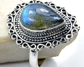 Labradorite & .925 Sterling Silver Ring Size 7.5 , V563