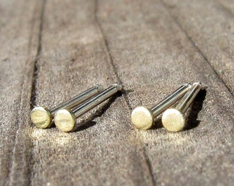 Tiny Round Brass Stud Earrings