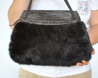 Vintage MINK FUR BAG , leather handbag...(177)