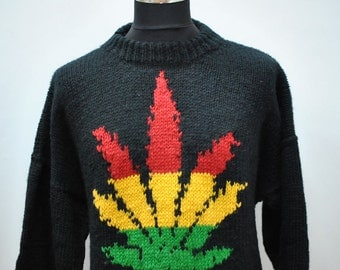 Vintage HANDMADE HAND KNIT pure wool men's pullover......(045)