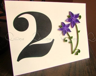 Unique Custom Table Number Cards/Reception Table Numbers/ Table Tents/ Table Decor/ Purple Flowers/ Quilled Cards-PURPLE DALIA-Bonti MT Font
