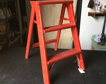 Wood painted step ladder