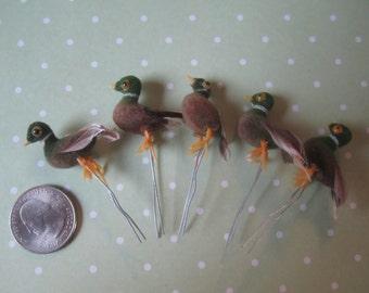 Miniature Duck Vintage Flocked Pick - 5