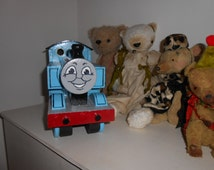 handmade heirloom thomas the tank engine trucks fat controller recycled hardwood handpainted childs wooden toy engine
