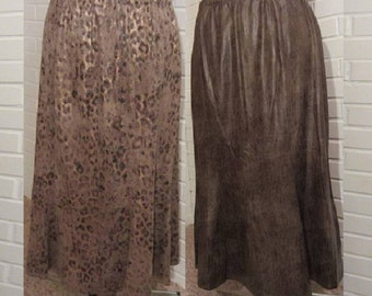 Vintage 90's Handmade Tulip Skirt, Moleskin Brown Skirts, Below the Knee Leopard Print Skirt Tribal Native Exotic Animal Print Classic Style