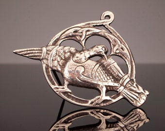 Carrier Pigeon Pendant Pin Brooch, Vintage Scottish Jewelry 1938