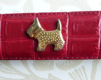 French red textured leather belt brass buckle & sweet scottie dogs